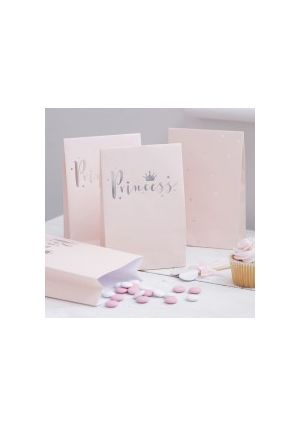 Princess Perfection Pink & Silver Foiled Party Bags - 8pk