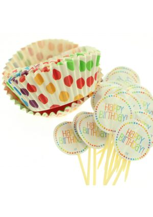 Rainbow Cupcake Cases & Toppers