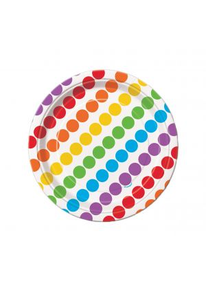 Rainbow Paper Plates 17cm 8 pack