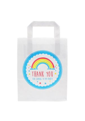 White Paper Party Bag with Rainbow Thank You for Coming to My Party