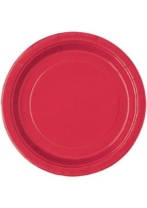 Red Paper Party Plates 22cm - 16pk