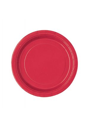 Red Paper Party Plates 17cm - 20pk