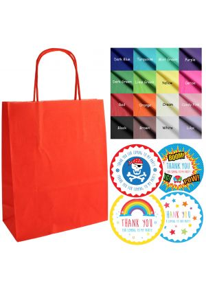 Mix & Match - Red paper party bags, labels & tissue paper