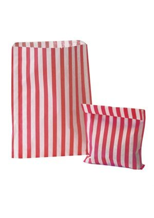Red Candy Striped Treat Bag