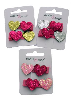 A Pack of 2 Sequin Heart Hair Clips