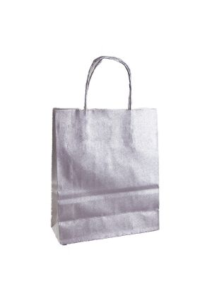 Silver Paper Party Bag with twisted paper handles
