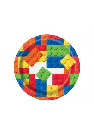 Building Blocks Paper Plates 17cm 8 Pack