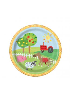 Farm Party Paper Plates 17cm 8 Pack