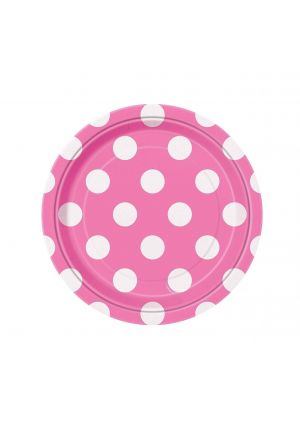 Pink Polka Dot Small Party Plates 8 pack