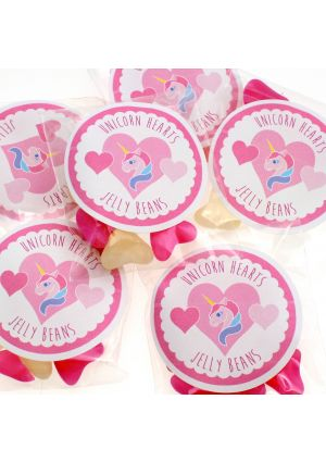 Unicorn Hearts - Pink & White Heart Jelly Beans