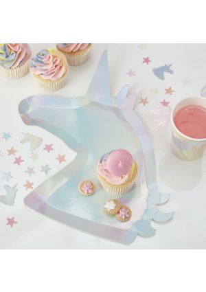 Iridescent Unicorn Party Paper Plates