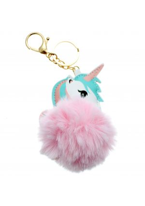 Fluffy Unicorn Pom Pom Keyring