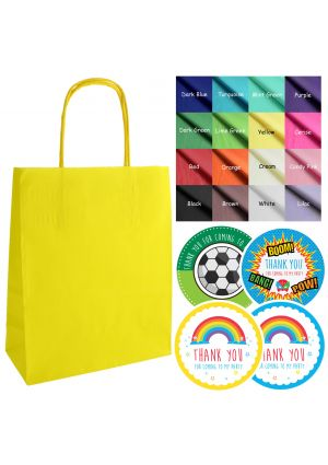 Mix & Match - Yellow  paper party bags, labels & tissue paper