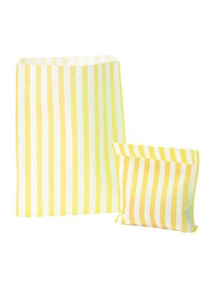 Yellow Candy Striped Treat Bag